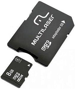 CARTÃO DE MEMÓRIA 8GB MULTILASER CLASSE 4 MC004