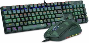 KIT REDRAGON TECLADO MECÂNICO RAINBOW SWITCH BLUE + MOUSE 5000DPI S108