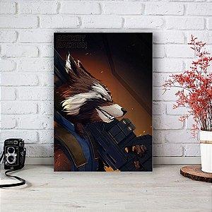 Placa Decorativa Rocket Raccoon Guardiões da Galáxia