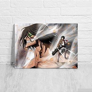Quadro/Placa Decorativa Mikasa e Eren - Attack on Titan