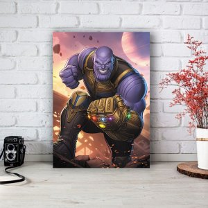 Quadro/Placa Decorativa Thanos e Manopla - Vingadores