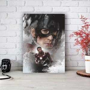 Quadro/Placa Decorativa Capitão América e Homem de Ferro - Vingadores