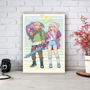 Quadro/Placa Decorativa Link e Zelda - The legend of Zelda