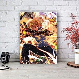 Quadro/Placa Decorativa Genos e Saitama - One-Punch Man