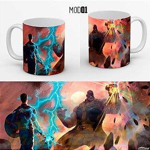 Caneca Capitão America Vs Thanos - Digno Do Martelo De Thor