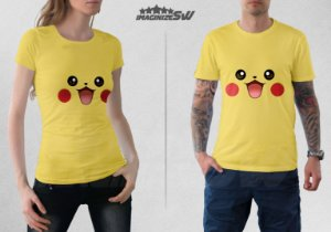 Camiseta Cores e Faces Pokemons Pikachu, Charmander, Bulbasaur e Squirtle