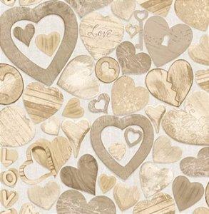 Papel de parede Corações amadeirados (Francês)