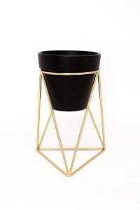 Vaso decorativo c/ tripé aramado PRETO E DOURADO