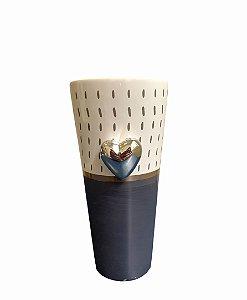 Vaso cerâmica CINZA coração