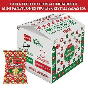 Caixa Fechada: 24 unidades Mini Panettone Frutas Cristalizadas 80g