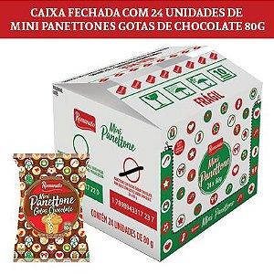 Caixa Fechada: 24 unidades Mini Panettone Gotas Chocolate 80g