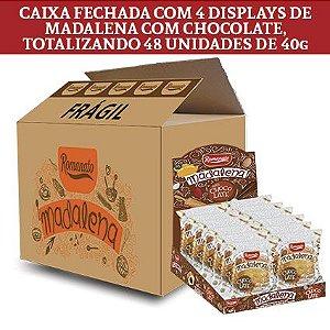 Caixa Fechada: 48 unidades de Bolinho Madalena sabor Chocolate (40g cada)