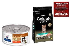 Combo Ração A/D Hills Diet para Cachorro e Gatos - 156g + Ração Golden Gatos Filhotes Sabor Frango 3Kgs