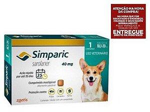 Antipulgas Simparic 40 mg para cães 10,1 a 20 kg com 3 tabletes