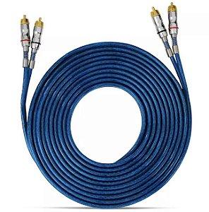 Cabo RCA Taramps 5 Metros 3mm Dupla Blindagem PVC Azul Plug Banhado a Níquel
