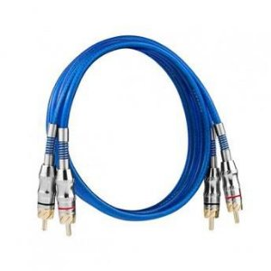 Cabo RCA Taramps T3B 3 Metros 3mm² PVC Azul Banhado à Níquel Dupla Blindagem