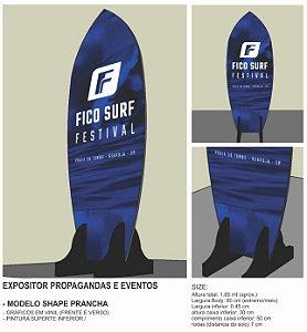 Toten promocional eventos modelo prancha de surf madeira com gráficos