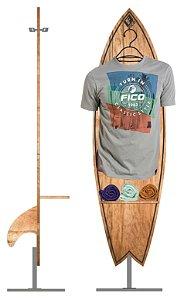 EXPOSITOR PARA CAMISETAS MODELO PRANCHA SURF OU SHAPE SKATE ARARA VITRINE DE SHOPPING