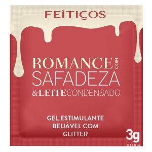 Sachê Romance Com Safadeza Gel Beijável Glitter 3g Feitiços