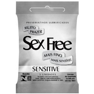 Preservativo Sensitive Com 3 Unidades Sex Free