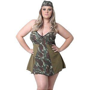 Fantasia Plus Size Militar Pimenta Kente