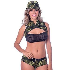 Kit Fantasia Militar a Short Amareto