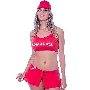 Kit Fantasia Bombeira Saia Amareto
