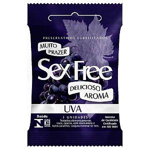 Preservativo Lubrificado Sex Free Aroma Uva com 3 unidades