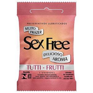 Preservativo Lubrificado Sex Free Aroma Tutti Frutti com 3 unidades