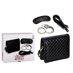 Ultimate bondage - Fascination Kit - Bolsa preta, tapa olho, chicote e algemas em metal