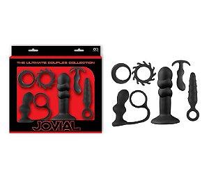 Kit Jovial 6 Em Silicone Black, Com 2 Aneis e 4 Plugs