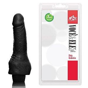 Prótese com massageador e vibrador 14,5x3,5cm na cor preto