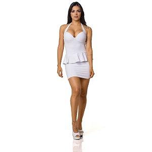 Vestido Sensual com Babado Branco