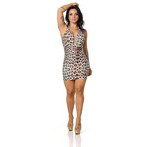 Vestido Sensual com Decote Transparente em Tule Onça