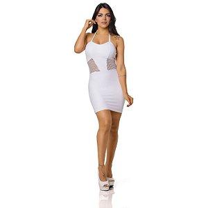 Vestido Sensual com Detalhe em Arrastão Branco
