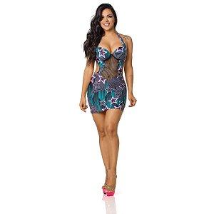 Vestido Sensual Frente Única com Decote Arrastão Estrela
