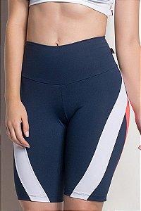 Bermuda Comfort Cós Alto E Detalhe 2 Cores (Azul Marinho / Branco / Laranja)
