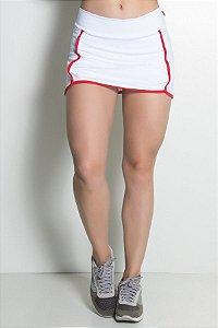 Short Saia Liso com Viés Colorido (Branco / Vermelho)