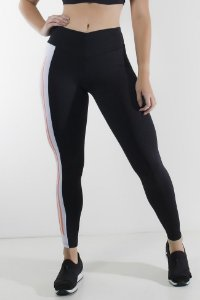 Calça Duas Cores com Cós em V e Silk (Preto / Branco)