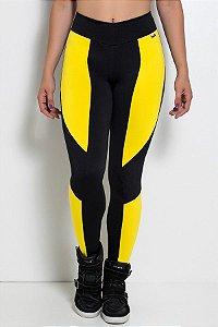 Calça Montaria Duas Cores (Preto com Amarelo)