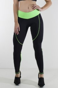 Calça Duas Cores com Abertura atrás dos Joelhos e Ponto de Cobertura (Preto / Verde Fluor)
