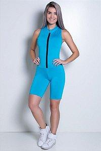 Macaquinho Fitness de Gola e Fecho Cores Lisas (Azul Celeste)