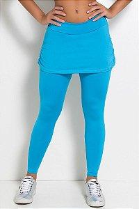 Calça Legging Lisa com Saia Franzida (Azul Celeste)