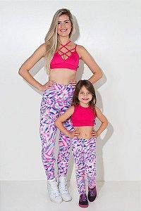Kit com 5 (cinco) Leggings Infantis Estampadas com Costura Lateral (Cores Variadas) (P)