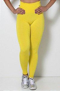 Calça Legging Tecido Bolha Invertida (Amarelo)