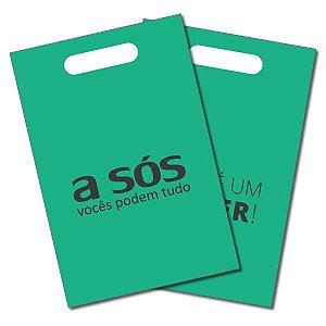 Sacola Plástica A Sós na cor Verde Pacote com 50 unidades - 15cm x 25cm