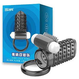 Double Lock Ring - Capa Sem Cabeça Com Anel Testicular e Vibrador
