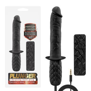 Plunger - Vibrador Butt Plug com 10 Modos de Vibração e Controle Remoto com Fio