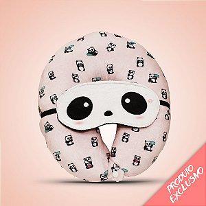 Almofada de pescoço panda + tapa olho