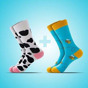 Meia estampada Vaca e Abelha-  Kit 2x1
